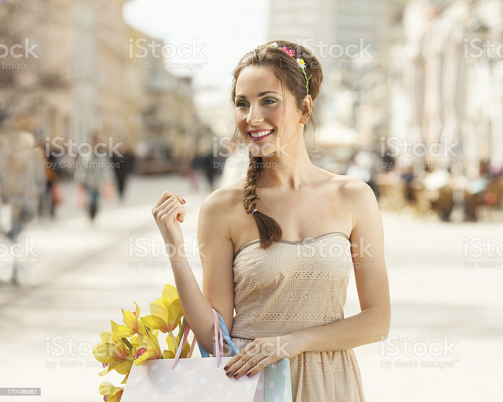 Romantic girl shopping in the city royalty-free stock photo