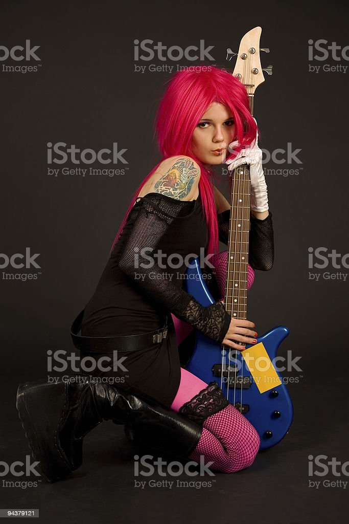 Romantic girl with bass guitar royalty-free stock photo