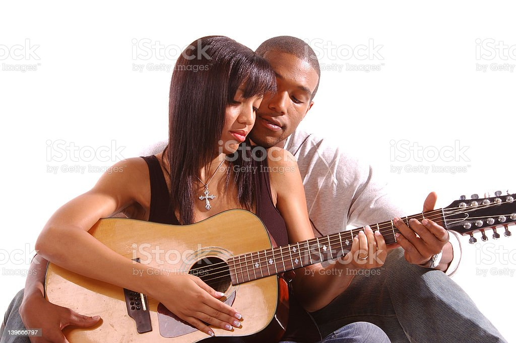 Romantic Guitar Lesson royalty-free stock photo