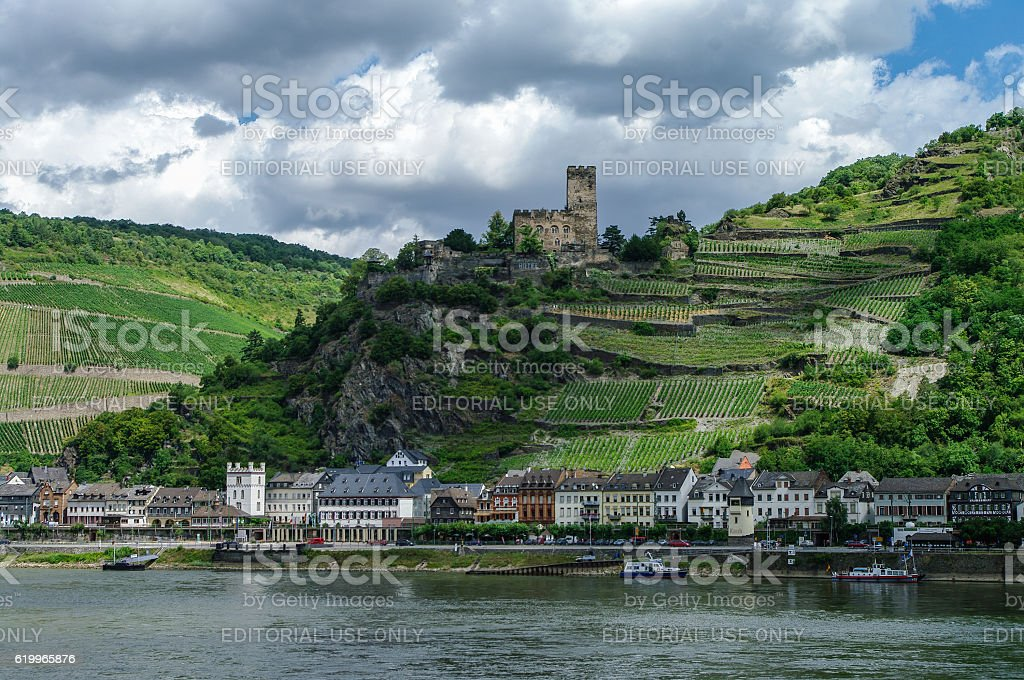 Romantic  Gutenfels medieval castle at Kaub in the famous stock photo
