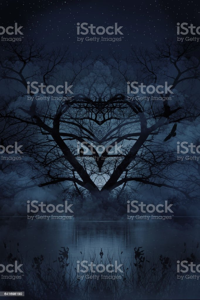Romantic Heart Shaped Tree with Courting Eagles and Night Sky stock photo