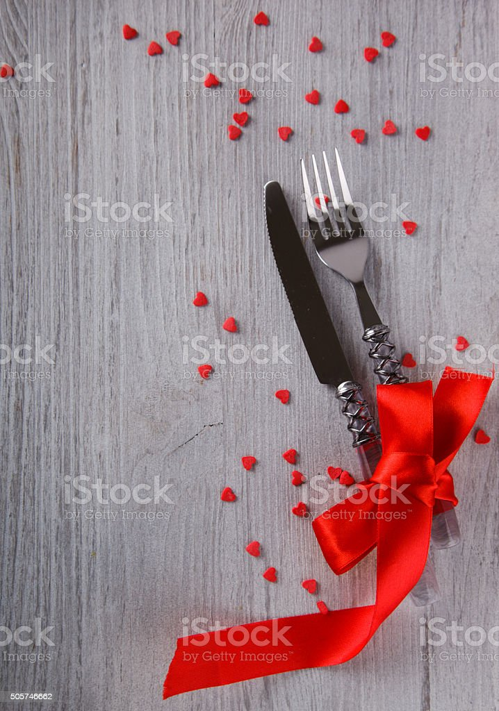 Romantic holiday Valentines day, table setting stock photo