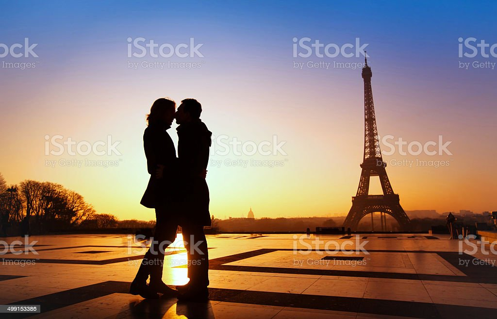 romantic holidays in Paris, couple travel in Europe, France stock photo