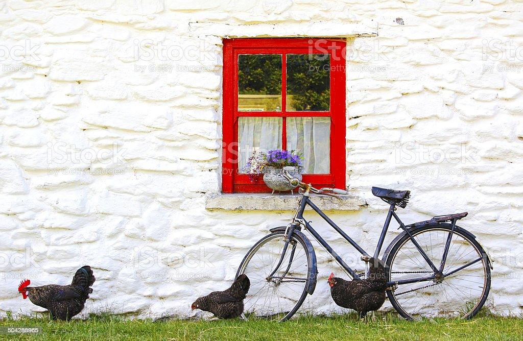 romantic idyll in a village in Ireland stock photo