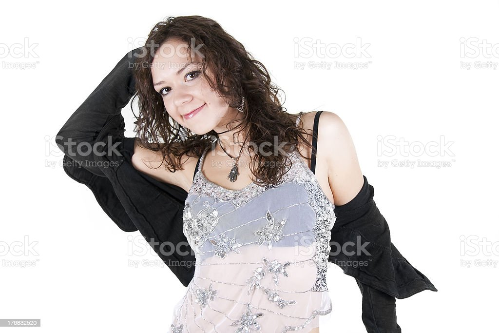 Romantic joyful girl on a white background stock photo