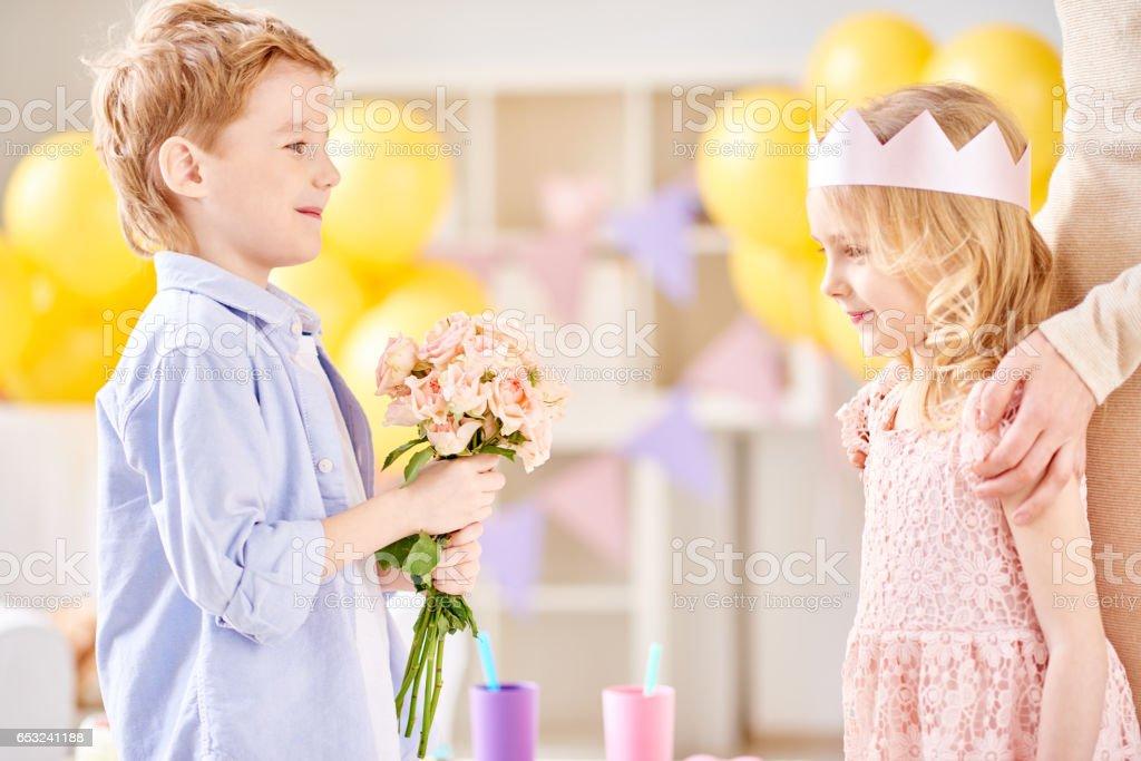 Romantic kids stock photo
