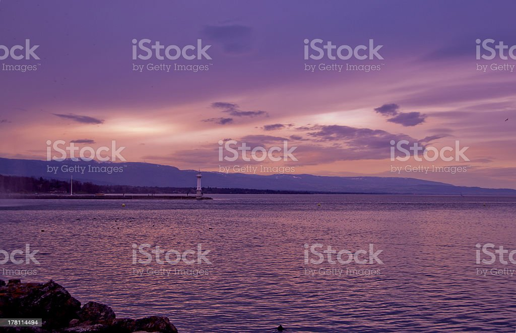 romantic landscape with Lighthouse stock photo