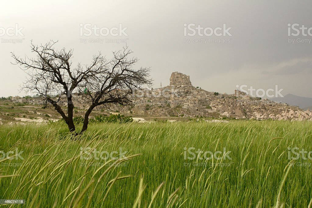 Romantic landscape with old castle in Turkey stock photo