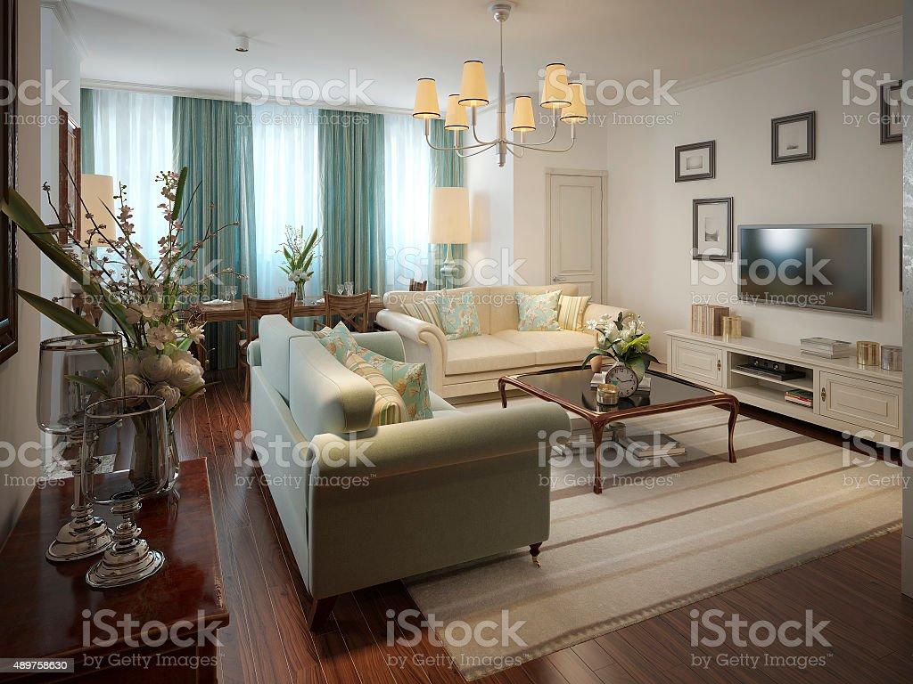 Romantic living room in the Romanesque style stock photo