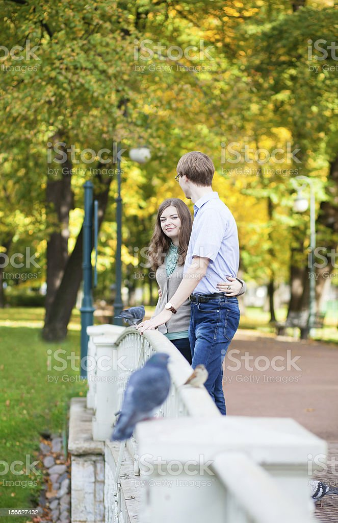 Romantic loveing couple in park royalty-free stock photo