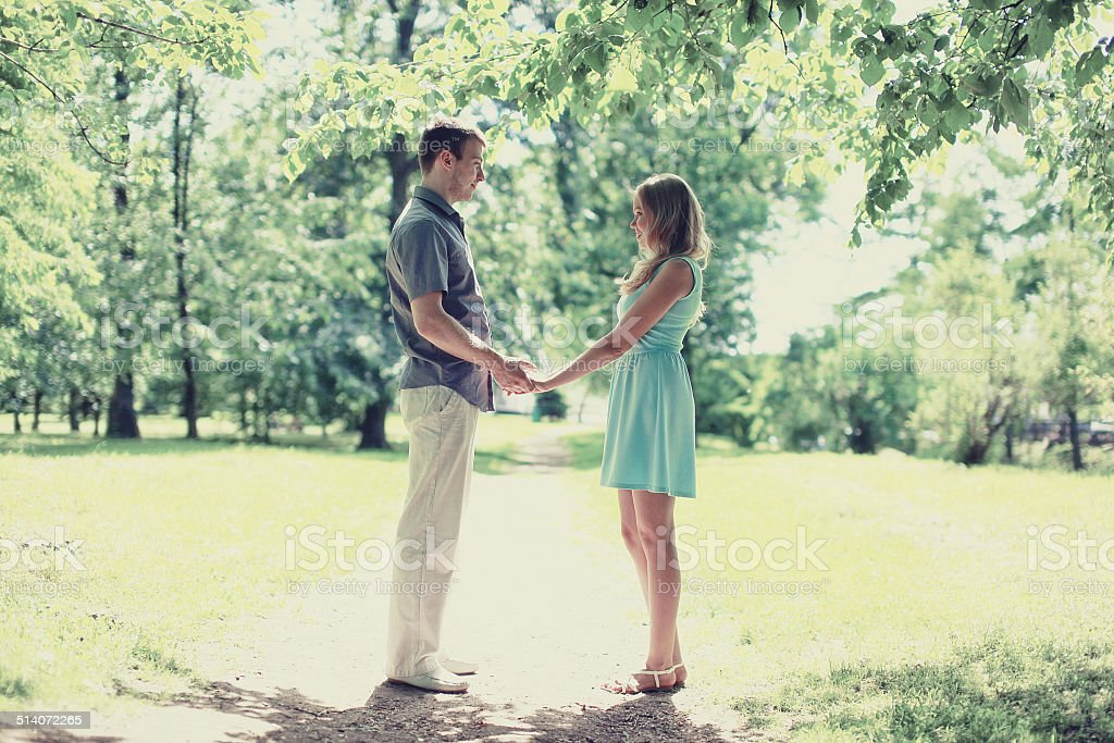 Romantic lovely happy couple in love stock photo
