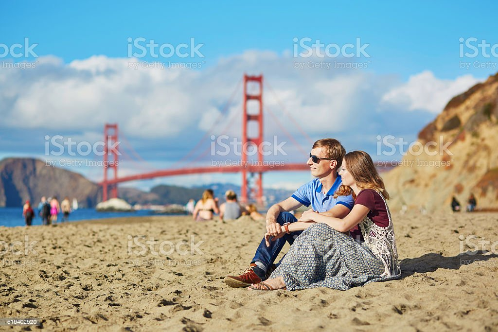 Romantic loving couple in San Francisco stock photo