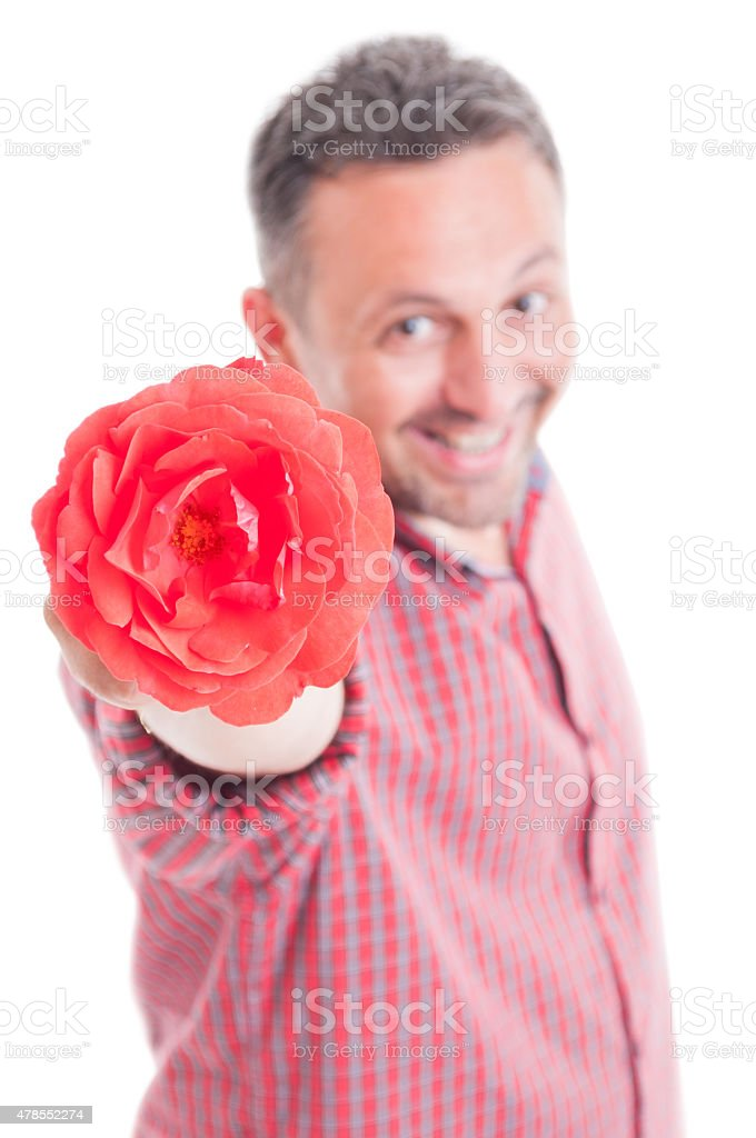 Romantic male offering flower stock photo