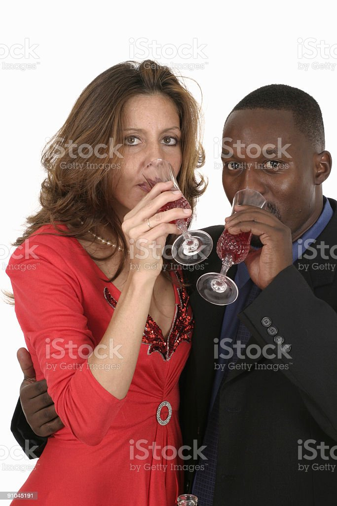 Romantic Man And Woman Celebrating With Wine royalty-free stock photo