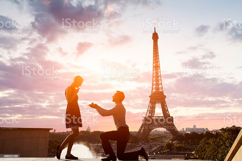 Romantic marriage proposal at Eiffel Tower, Paris, France stock photo