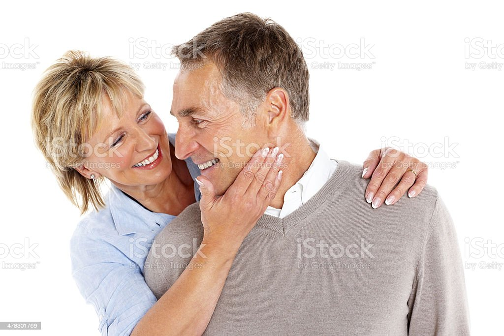 Romantic mature couple against white royalty-free stock photo