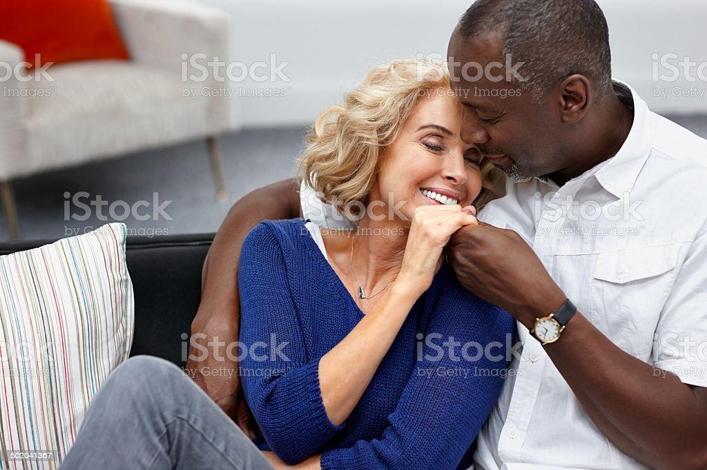 Romantic mature couple - Indoors royalty-free stock photo