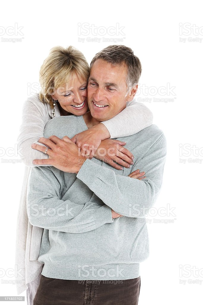 Romantic mature couple on white background royalty-free stock photo