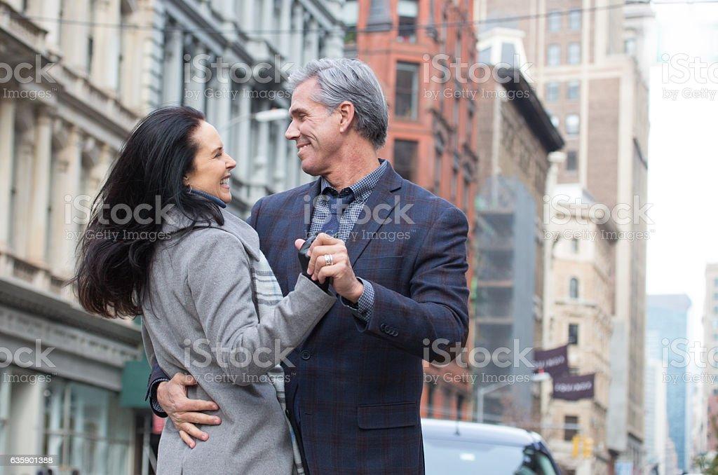 Romantic Mature Urban Couple stock photo