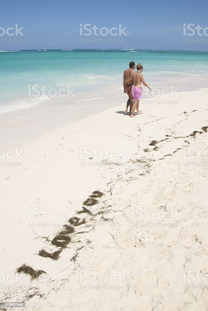 Romantic Message Tropical Beach royalty-free stock photo