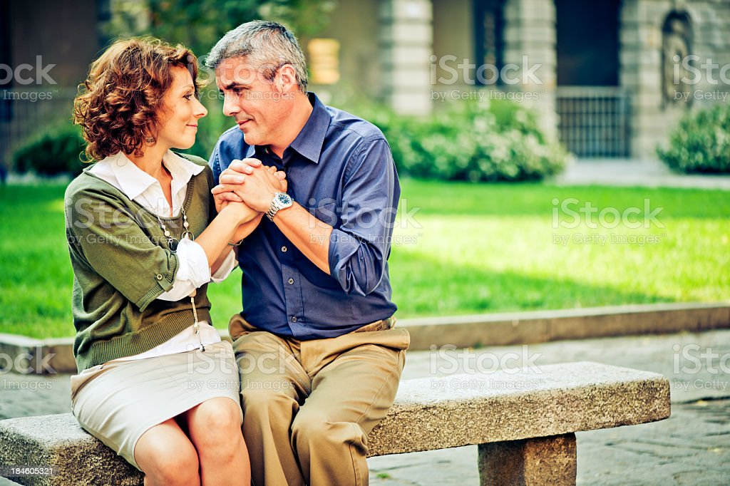 Romantic middle aged couple outdoors royalty-free stock photo
