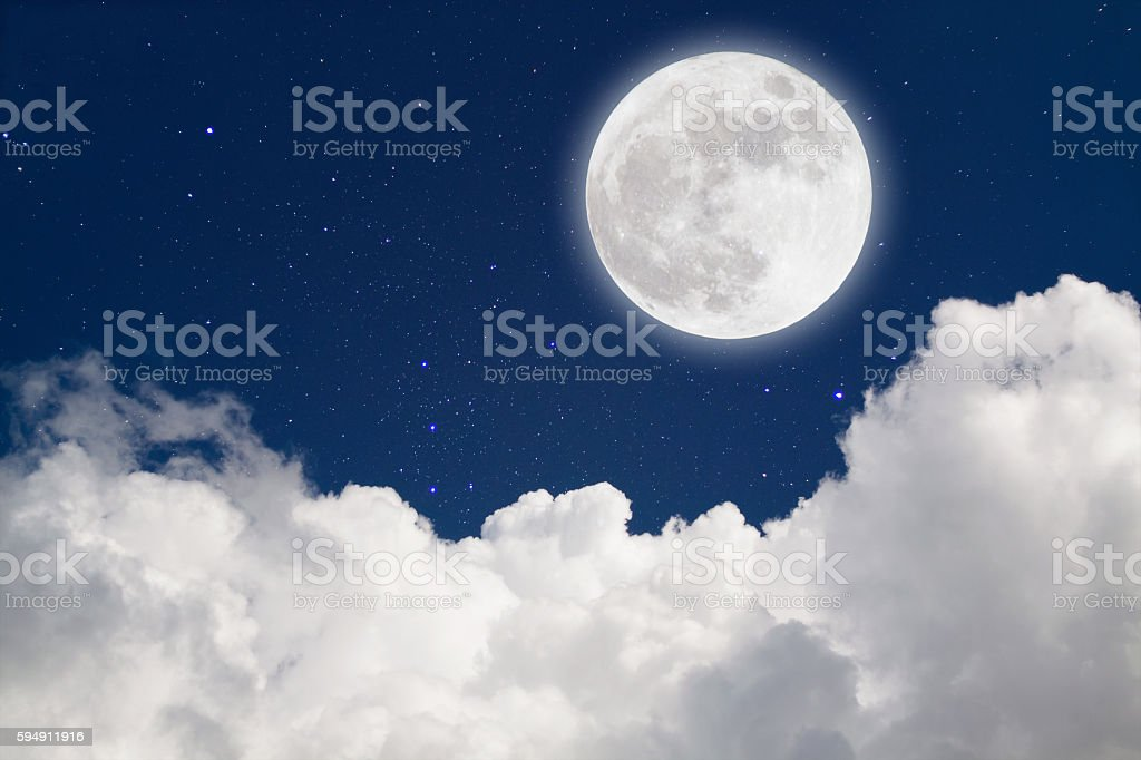 Romantic Moon In Starry Night Over Clouds. stock photo