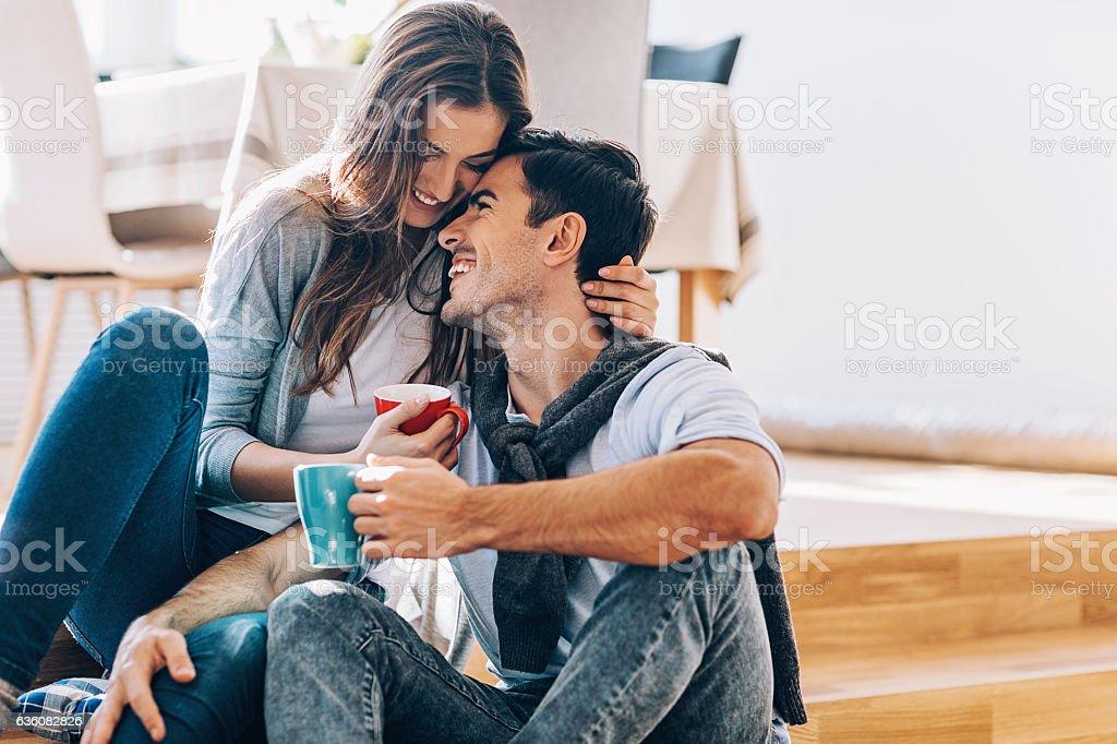 Romantic morning at home stock photo