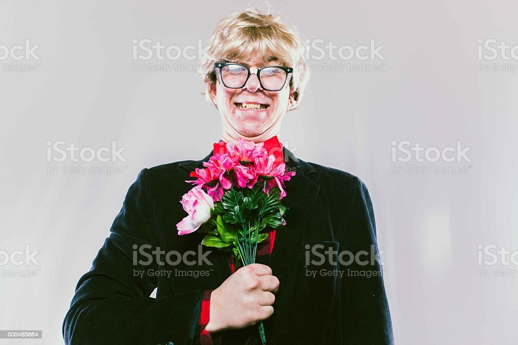 Romantic Nerd Lover Boy stock photo