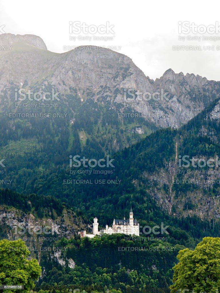 Romantic Neuschwanstein Castle in the Alps, Germany stock photo