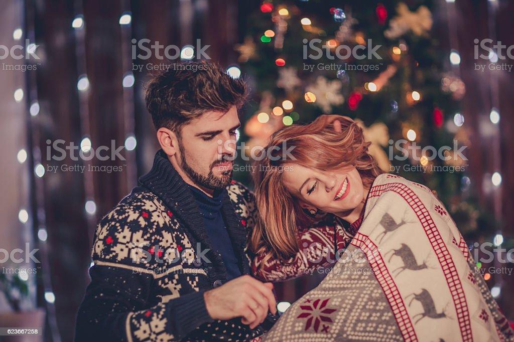 Romantic  New Year's celebration stock photo