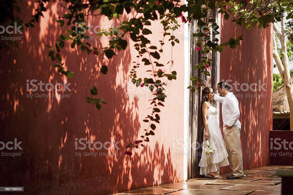 Romantic newlyweds stock photo