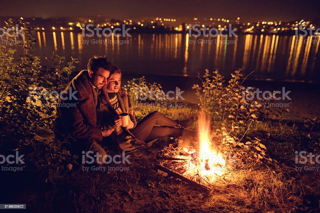 Romantic night by the campfire! stock photo