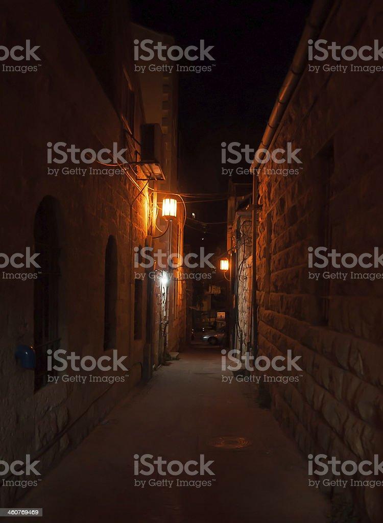Romantic night street royalty-free stock photo