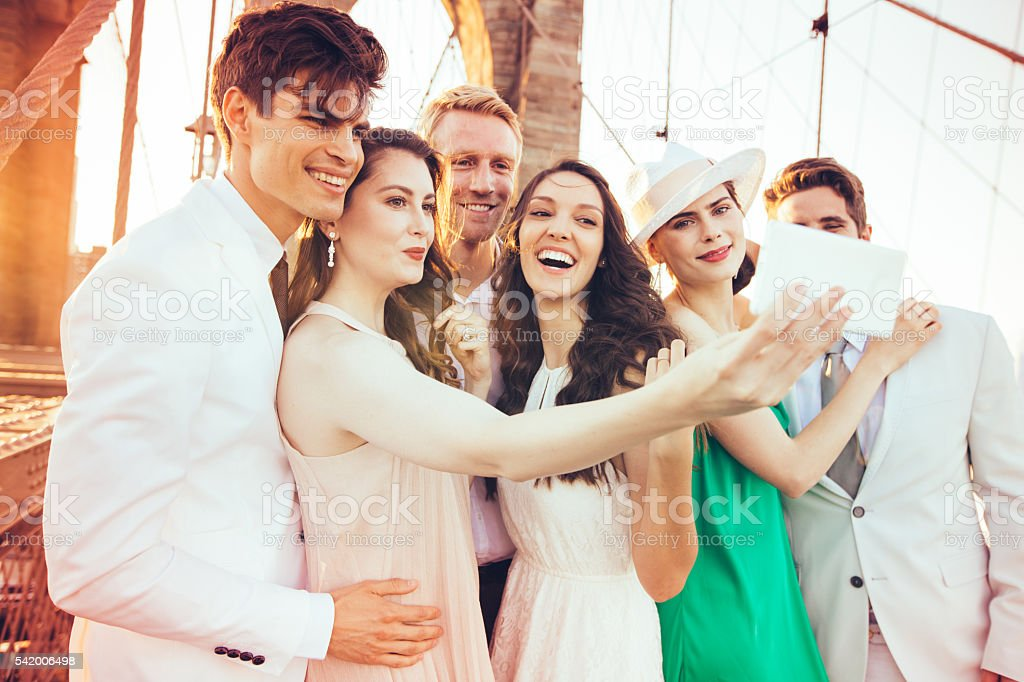 Romantic night with friends stock photo