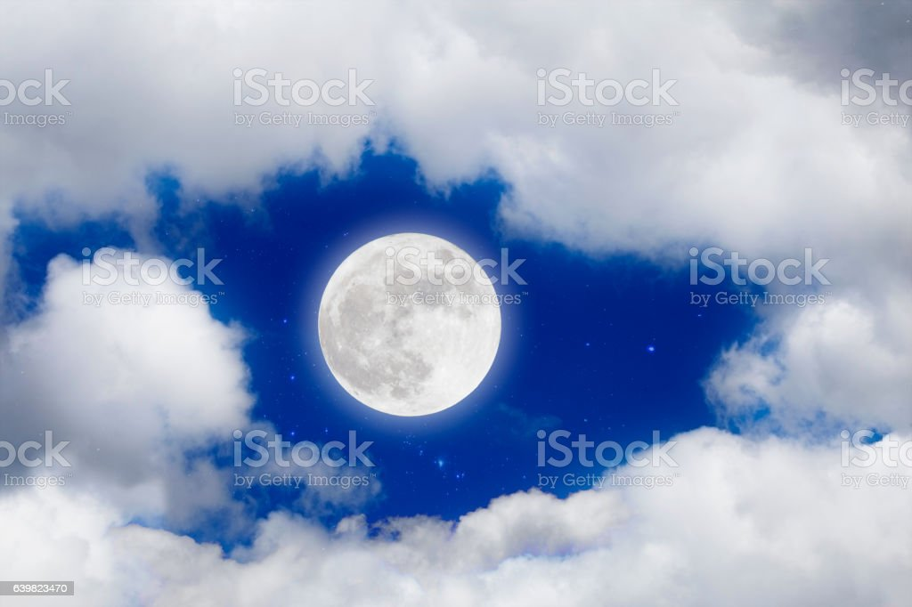 Romantic night with full moon and stars with cloudscap. stock photo