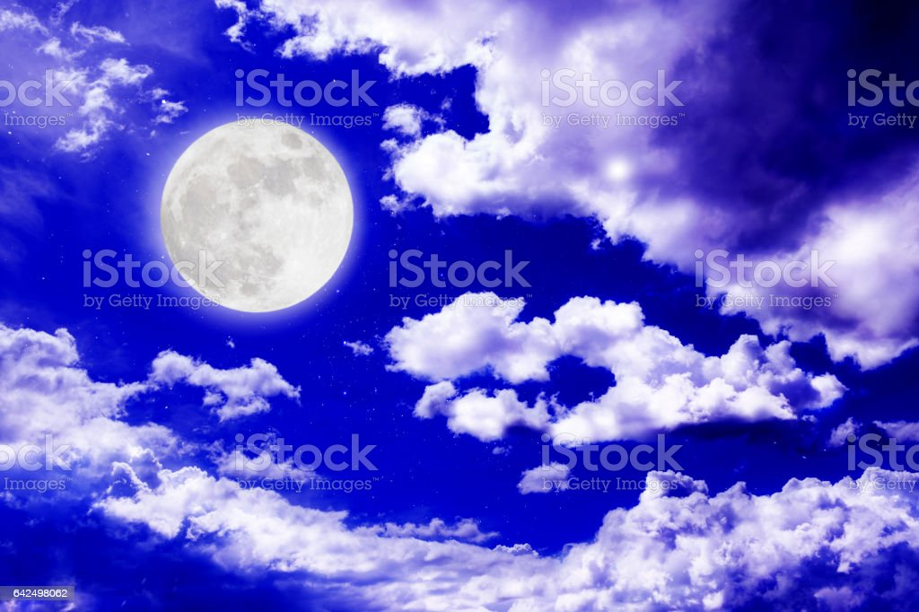 Romantic night with full moon with cloudscape background. stock photo