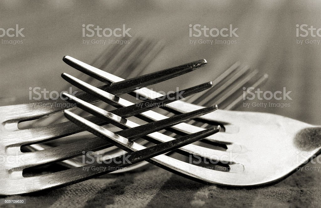 Romantic or Possibly Angry Forks stock photo