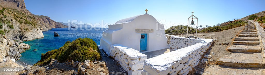 Romantic panorama view of Agia Anna beach, Cyclades, Greece stock photo
