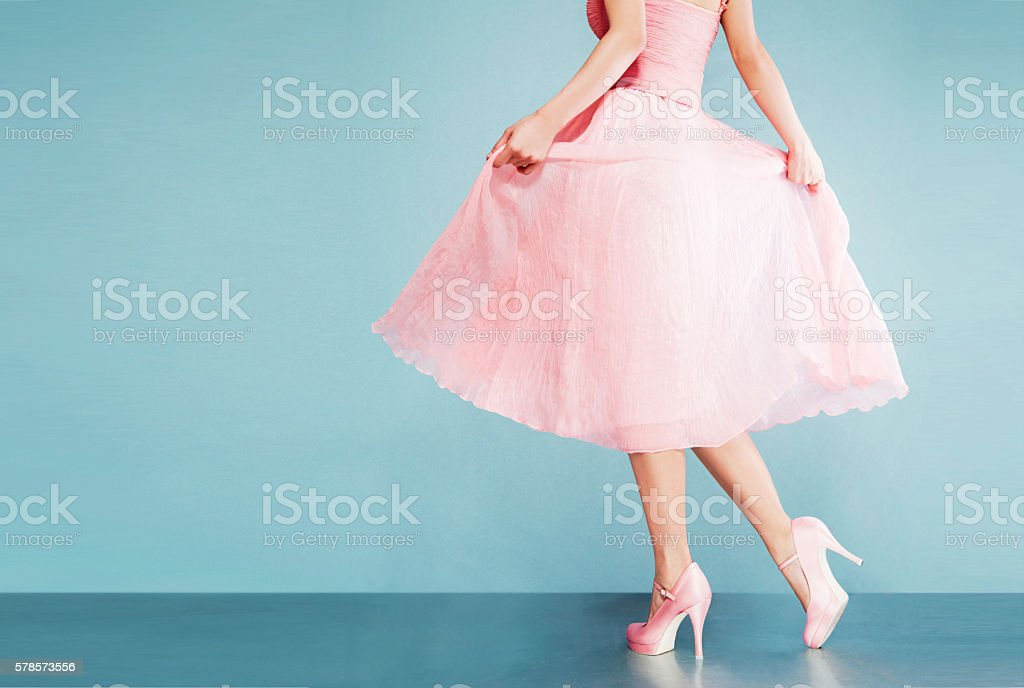 Romantic pink dress with shoes.vintage style. stock photo