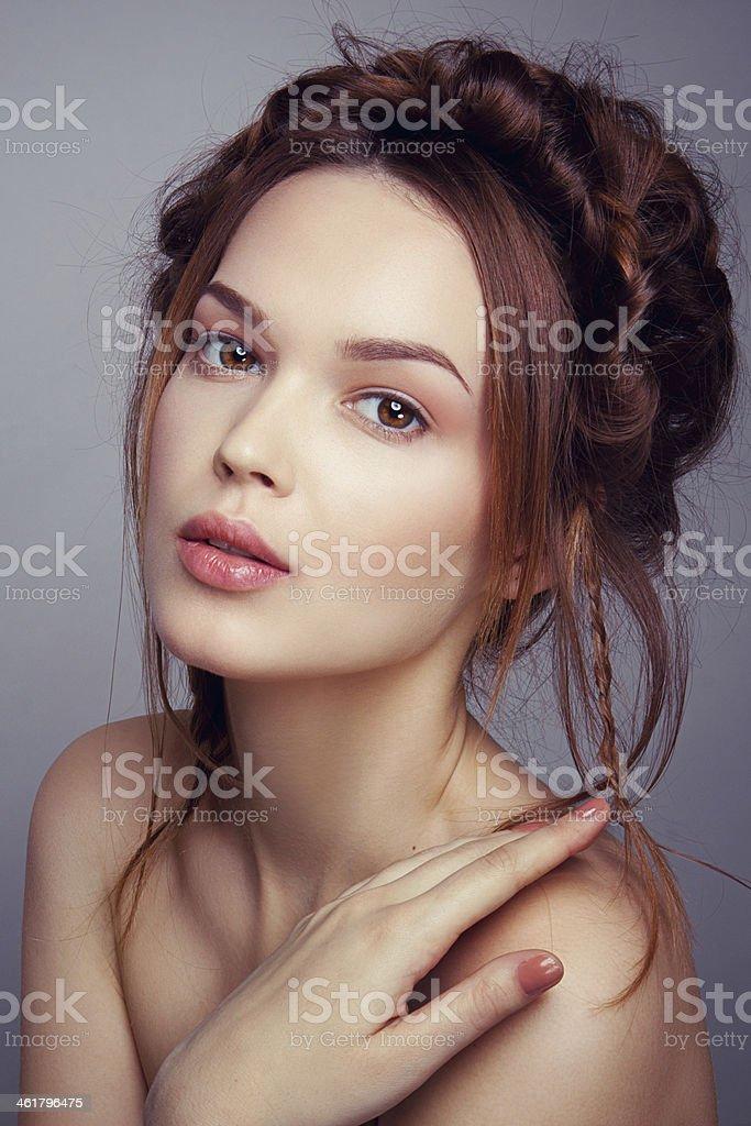 Romantic portrait of a beautiful lady stock photo