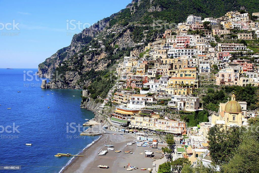 Romantic Positano and blue sea beach - Amalfi Coast, Italy stock photo