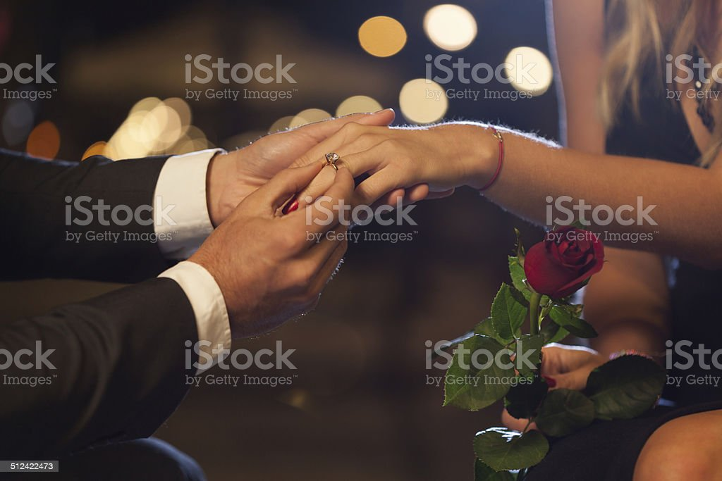 Romantic proposal in the city stock photo