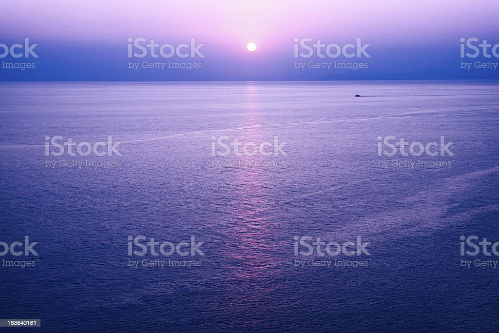 Romantic purple sunset stock photo