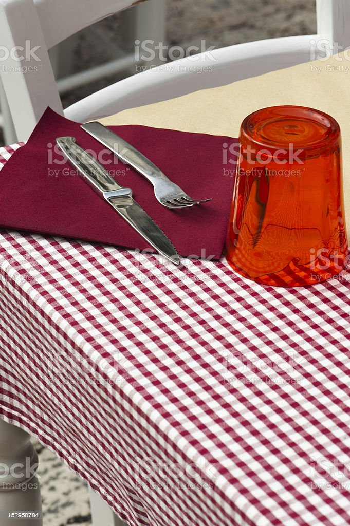 romantic restaurant - table and chairs stock photo