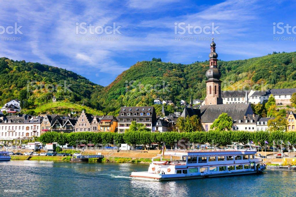 Romantic Rhein river cruises. Beautiful Cochem town. Germany stock photo