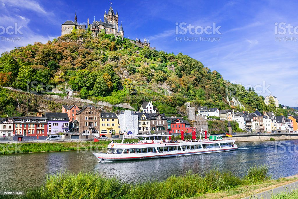 Romantic river cruises over Rhein - medieval Cochem town. Germany stock photo