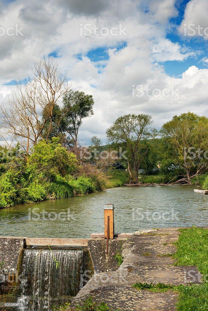 Romantic river Franconia Germany stock photo