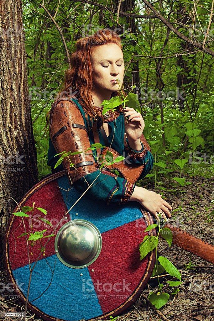 Romantic scandinavian woman stock photo