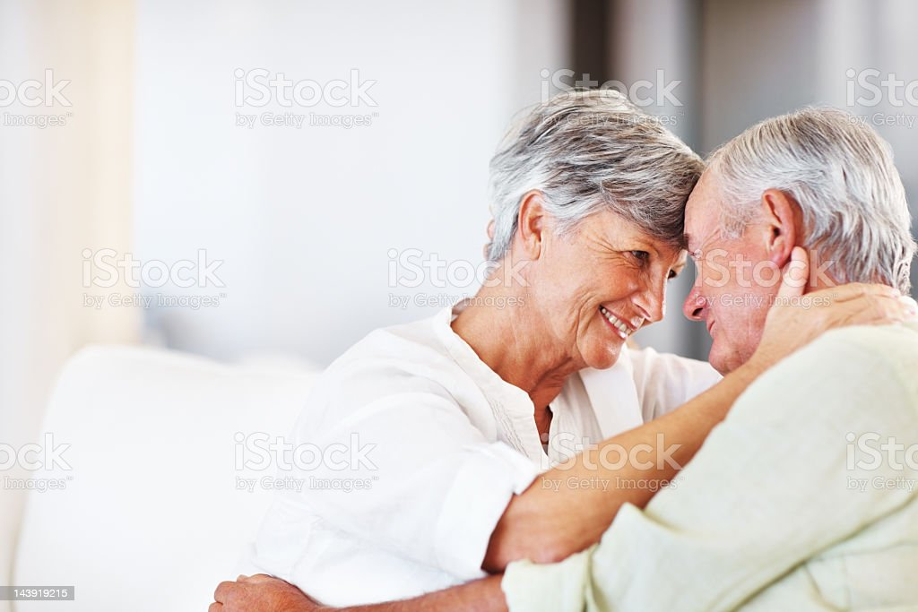 Romantic senior couple at home royalty-free stock photo