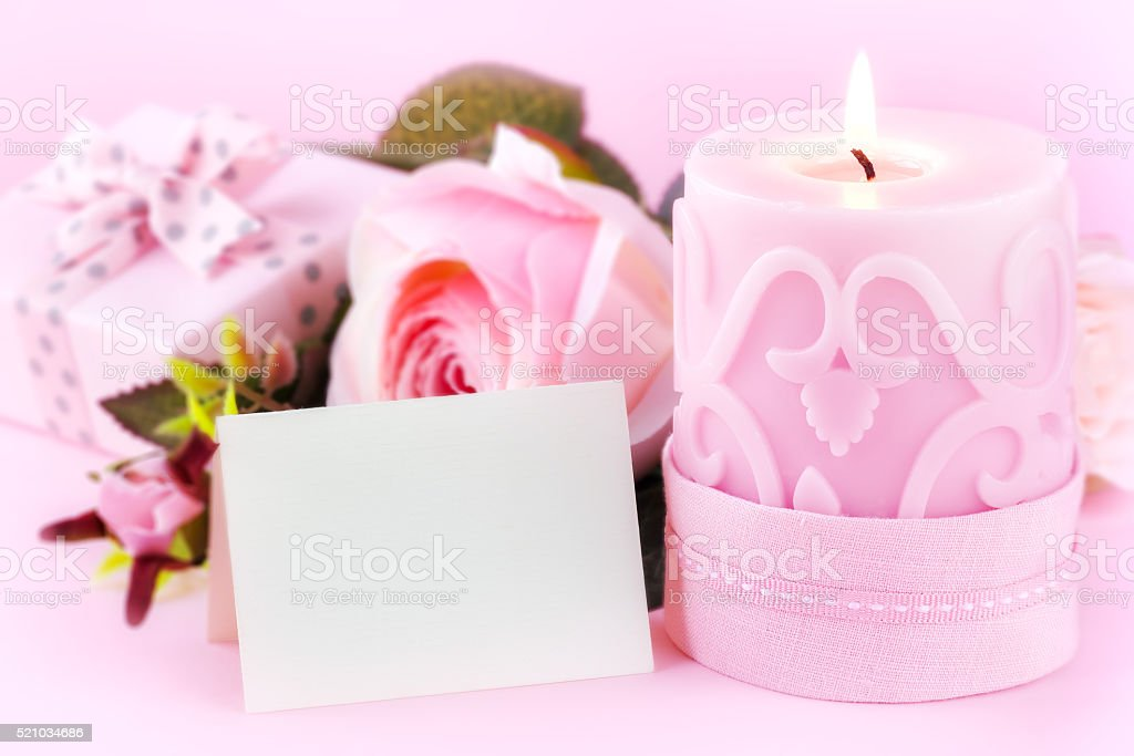 Romantic setting with greeting card stock photo